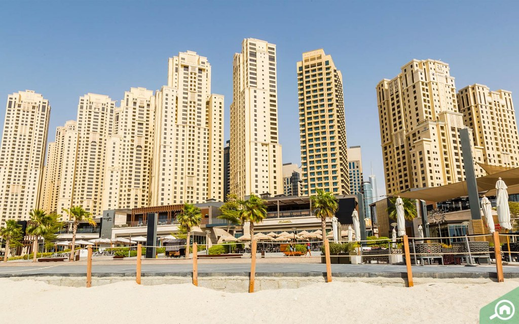 The beach at Jumeirah Beach Residences (JBR Beach).