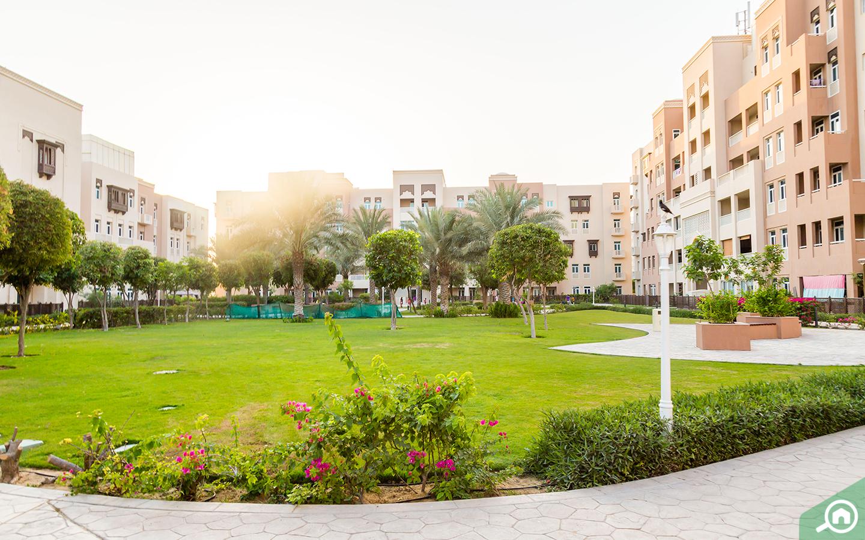 Park in Masakin Al Furjan apartment complex