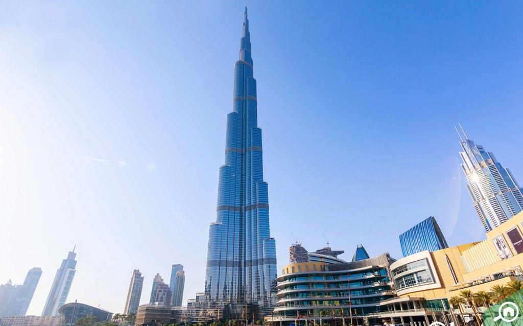 Burj Khalifa towering over Downtown Dubai