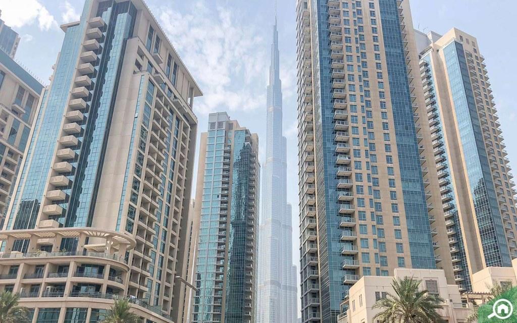 Burj Khalifa view near The Residences towers