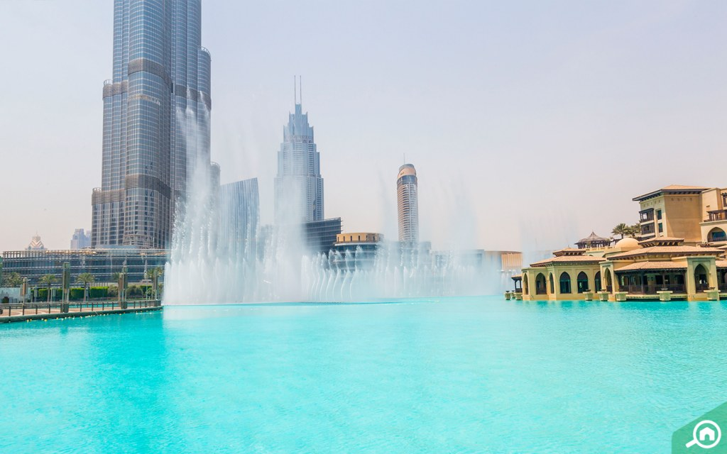 Dubai Fountain near Burj Khalifa