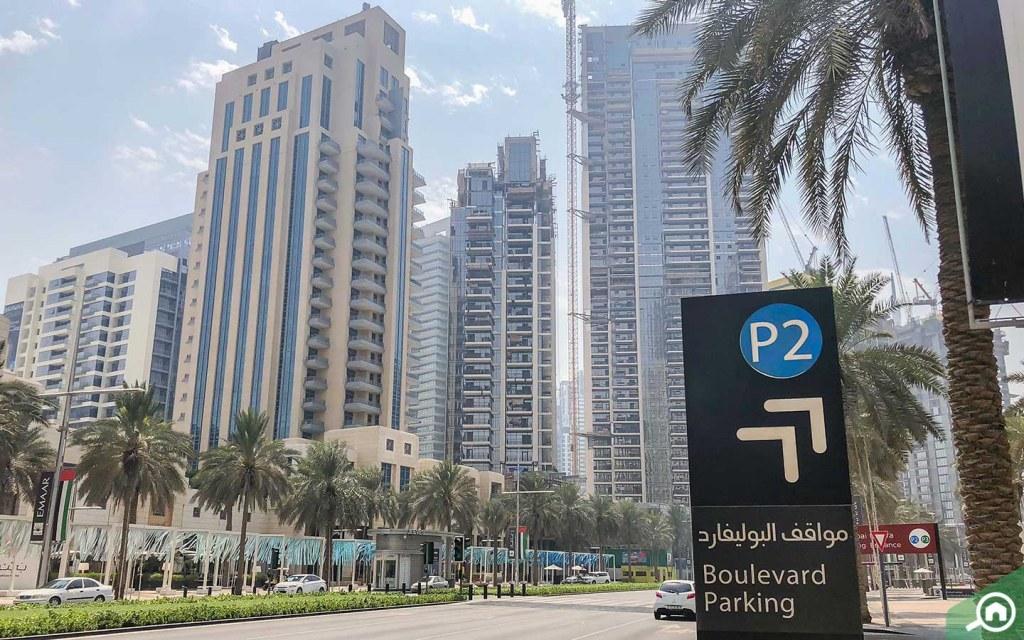 Mohammed bin Rashid Boulevard parking near Burj Khalifa