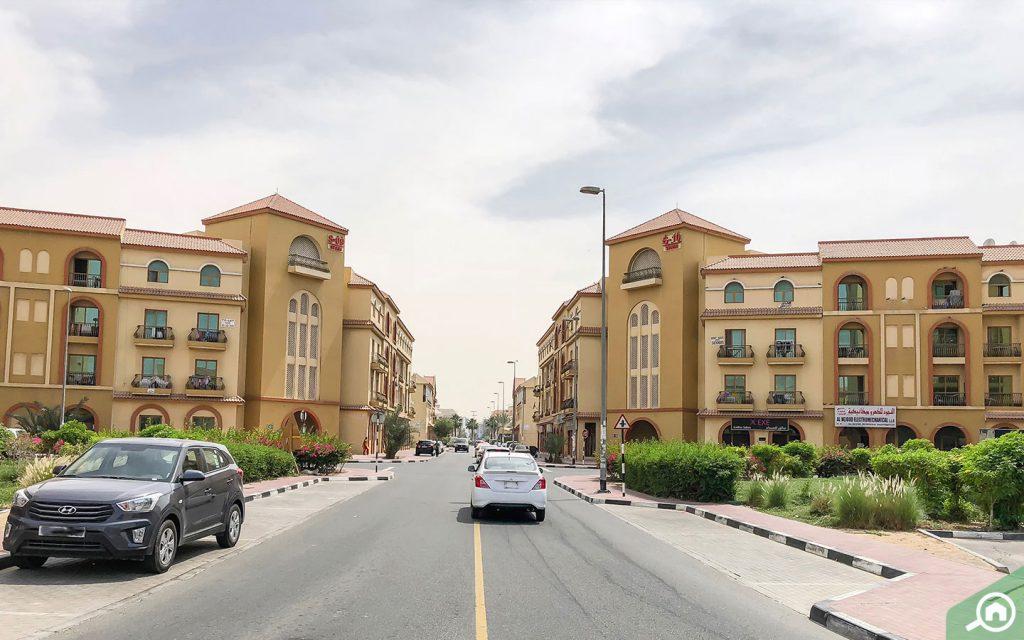 شارع في المدينة العالمية دبي