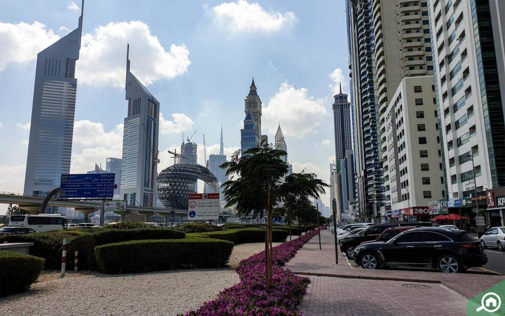 emirates towers near dubai world trade centre