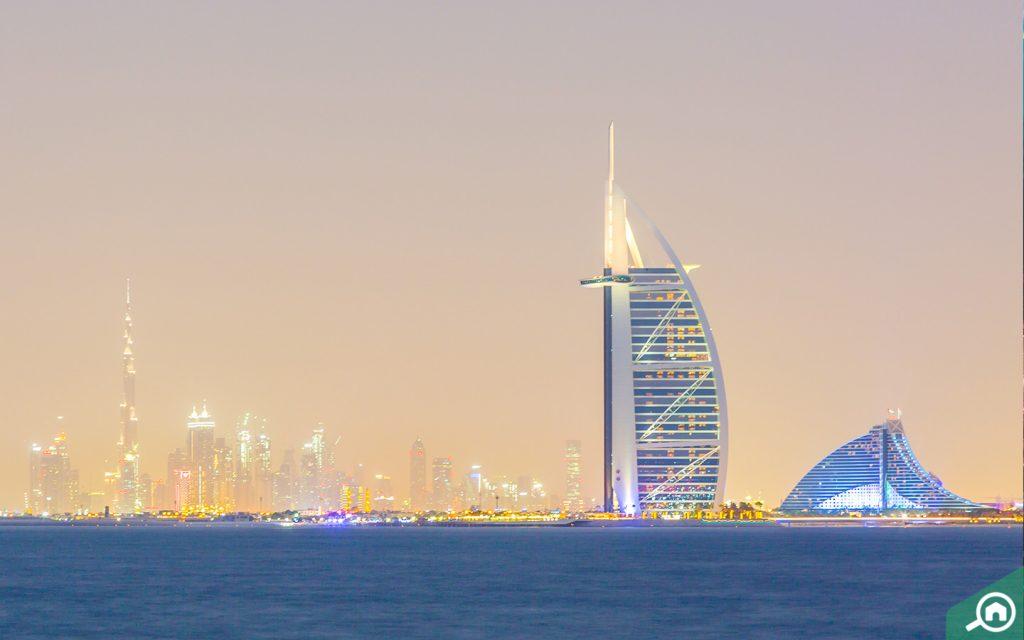 burj al arab views from blue water island