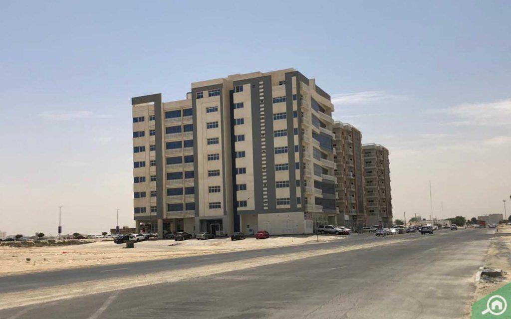 street of al maqtaa UAQ apartment buildings