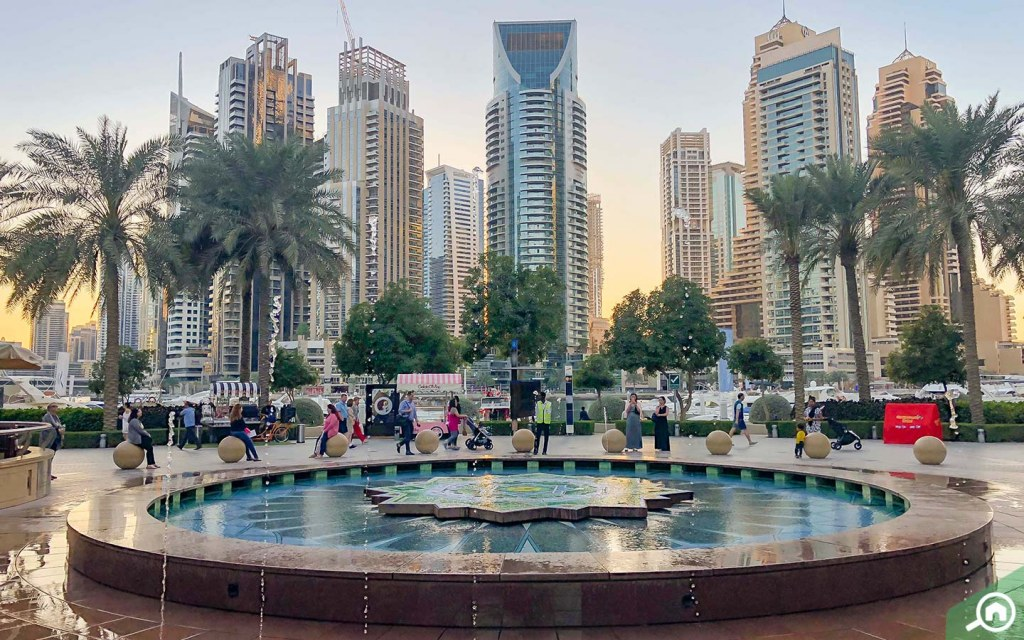 a view of Dubai Marina Walk