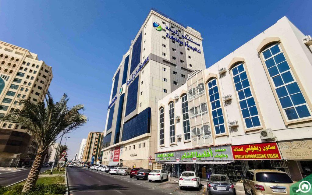 A street view of Zulekha Hospital
