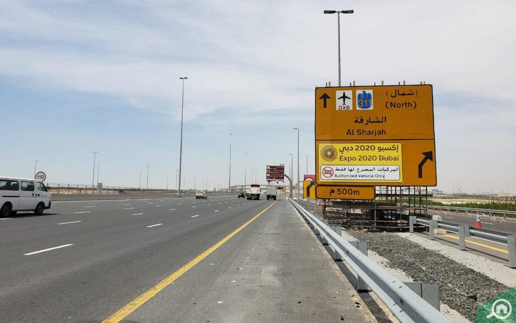 Signboard of Dubai Expo 2020 on street