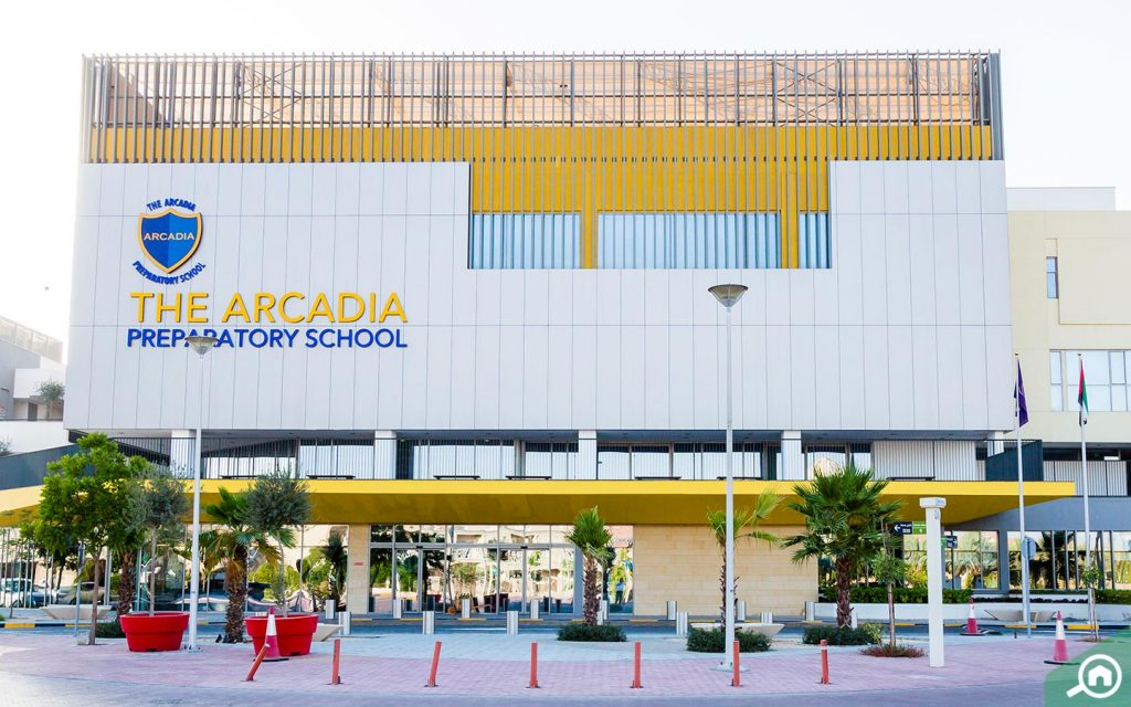 outside view of The Arcadia School in JVT Dubai